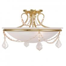 Livex Lighting 6524-02 - 3 Light Polished Brass Ceiling Mount