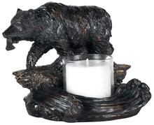 CAL Lighting TA-878LC - BEAR W/FISH CANDLE HOLDER