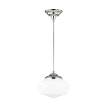 Sea Gull 65437BLE-05 - Fluorescent Academy Medium One Light Pendant in Chrome with Satin White Schoolhouse Glass