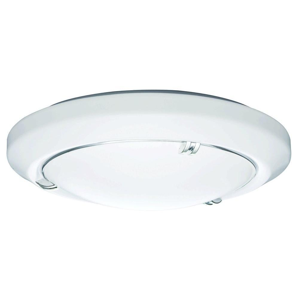 White Round Fluorescent Flush Mount With Chrome Accents
