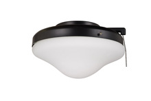Ellington Fan ELK113-1MBK-W - 2 Light Outdoor Bowl Fan Light Kit in Matte Black with Opal Frost Glass