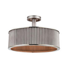 ELK Lighting 15925/3 - Corrugated Steel 3-Light Semi Flush Mount in Weathered Zinc with Corrugated Metal