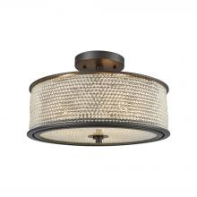 ELK Lighting 15970/3 - Glass Beads 3-Light Semi Flush in Oil Rubbed Bronze with Clear Glass Balls Drum Shade