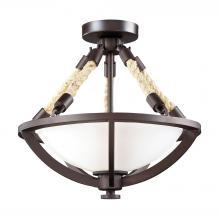 ELK Lighting 63011-2 - Natural Rope 2-Light Semi Flush in Aged Bronze with White Glass