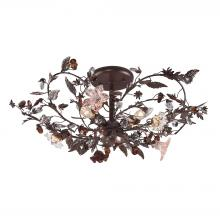 ELK Lighting 7046/3 - Cristallo Fiore 3-Light Semi Flush in Deep Rust with Clear and Amber Florets